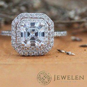 Asscher Cut Moissanite 925 Sterling Silver Ring